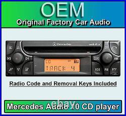 Mercedes ML Audio 10 CD player, Merc W163 car stereo + radio code and keys
