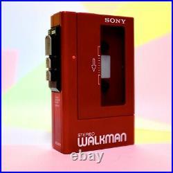 Retro 1980s SONY STEREO WALKMAN WM-4 STEREO CASSETTE PLAYER RED rebuilt working