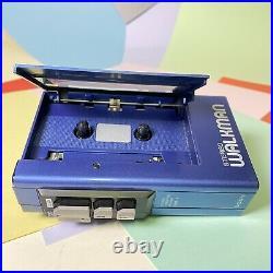 Retro Blue 1980s SONY STEREO WALKMAN WM-4 STEREO CASSETTE PLAYER Refurbished