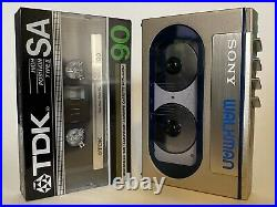 Sony WM-10 Super Walkman Serviced Working New Belt Cassette Player Blue Metal