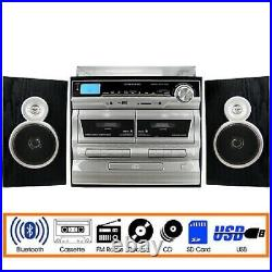 Trexonic 3-Speed Turntable CD Dual Cassette Player Bluetooth USB Remote TRX-11BS