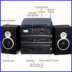 Trexonic 3-Speed Vinyl Turntable 33 45 78 Record Player CD Cassette FM Radio USB