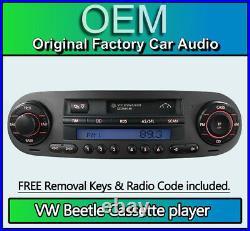 VW Beetle Cassete tape player, Volkswagen car stereo + Code & FREE removal keys