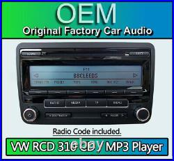 VW RCD 310 CD MP3 player, VW Polo car stereo headunit, Supplied with radio code