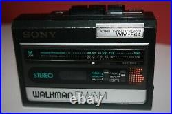 Vintage SONY Walkman WM-F44 Stereo Cassette Player FM/AM Radio New Belts Rare